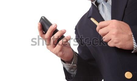 Hombre de negocios teléfono móvil proceso negocios hombre trabajo Foto stock © Suriyaphoto