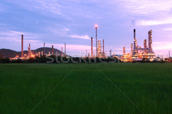 green grass field with scenic of petrochemical oil refinery plan Stock photo © Suriyaphoto