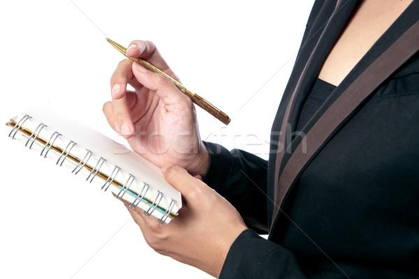 Zakenvrouw boek business computer vrouw kantoor Stockfoto © Suriyaphoto