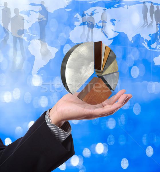 Homem de negócios torta gráfico mapa do mundo negócio Foto stock © Suriyaphoto