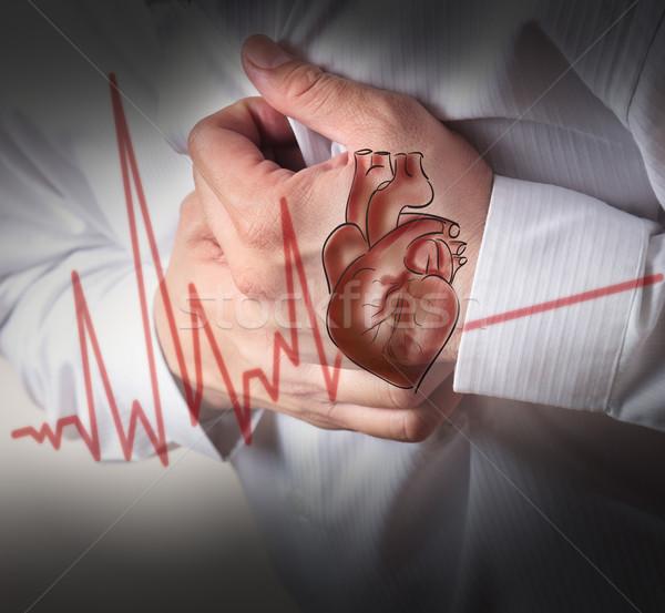 Attacco di cuore cuore cardiogramma salute imprenditore uomini Foto d'archivio © Suriyaphoto