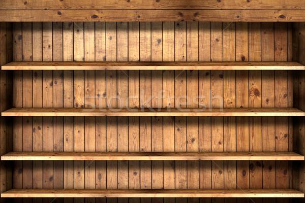 Houten boekenplank kantoor ruimte bar markt Stockfoto © Suriyaphoto