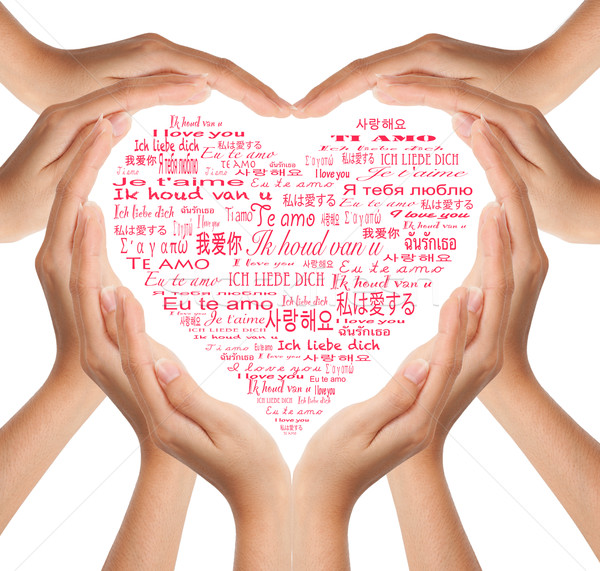 Ręce kształt serca strony miłości streszczenie Zdjęcia stock © Suriyaphoto