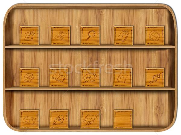 Houten toepassing iconen kantoor boek hout Stockfoto © Suriyaphoto