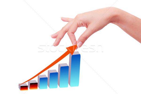 Foto stock: Mão · crescente · gráfico · reunião · bar · professor