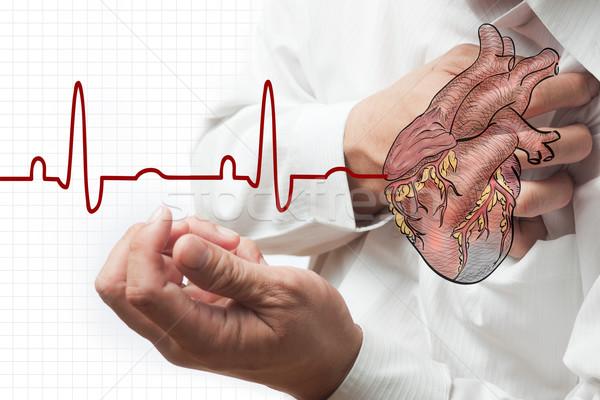 Crise cardiaque coeur cardiogramme santé affaires hommes Photo stock © Suriyaphoto