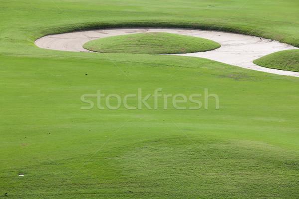 Grama verde areia campo de golfe céu árvore golfe Foto stock © Suriyaphoto