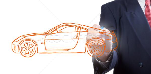 Mannen tekening auto business textuur hand Stockfoto © Suriyaphoto
