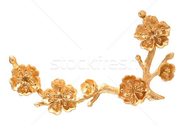 Gouden kersenbloesem kunst schilderij kleur kers Stockfoto © Suriyaphoto