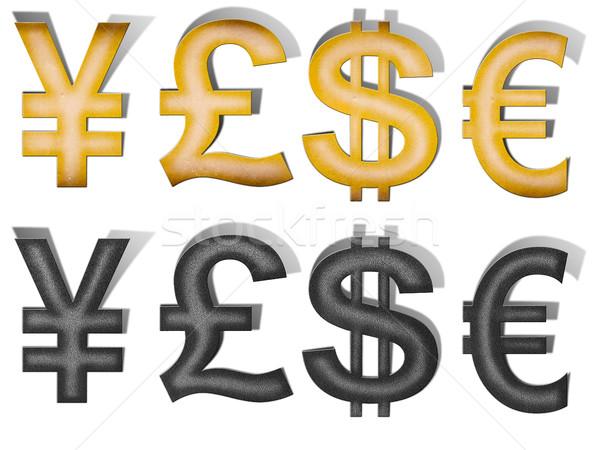 Vintage papel metal signo de dólar signo libra Foto stock © Suriyaphoto