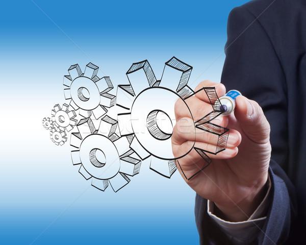 Homme d'affaires dessin engins succès stylo technologie Photo stock © Suriyaphoto