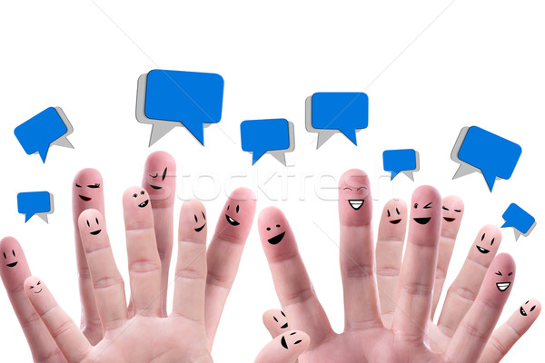 Social network concept of Happy group of finger faces  with spee Stock photo © Suriyaphoto