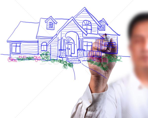 Masculin mână desen frumos casă afaceri Imagine de stoc © Suriyaphoto