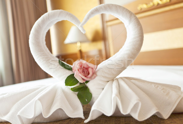 Honeymoon Bed Suite decorated with flowers and towels Stock photo © Suriyaphoto