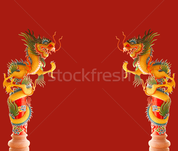 Deux belle chinois dragons rouge ciel Photo stock © Suriyaphoto