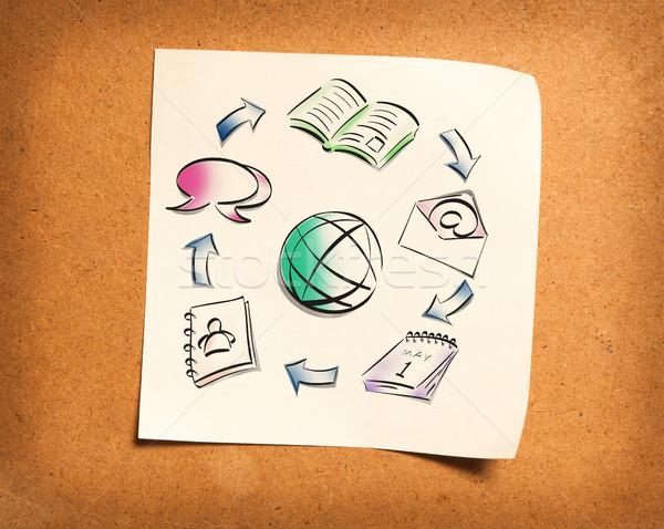 Photo stock: Papier · note · bois · bureau · texture · peinture