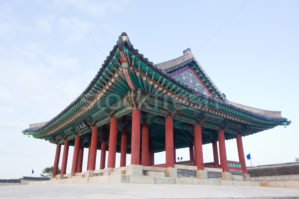 Korea  traditional multicolored paintwork on wooden buildings Stock photo © Suriyaphoto