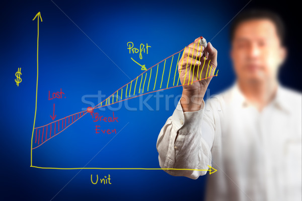 Mannelijke hand tekening groei grafiek potlood Stockfoto © Suriyaphoto