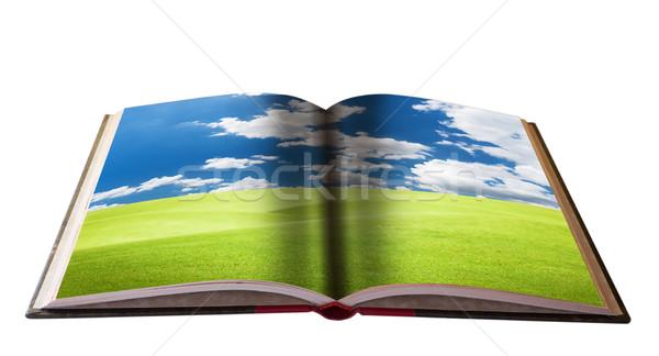 Magia libro paisaje vista educación nubes Foto stock © Suriyaphoto