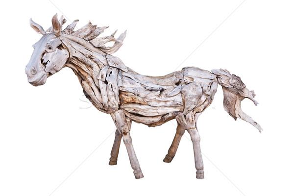 Geïsoleerd houten paard witte speelgoed retro Stockfoto © Suriyaphoto
