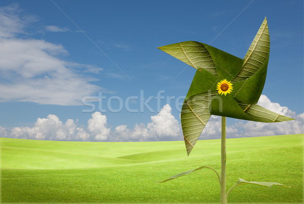 Moulin à vent prairie domaine vert industrie Photo stock © Suriyaphoto