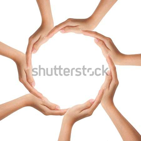Multiracial human hands making a circle with Copy Space Stock photo © Suriyaphoto
