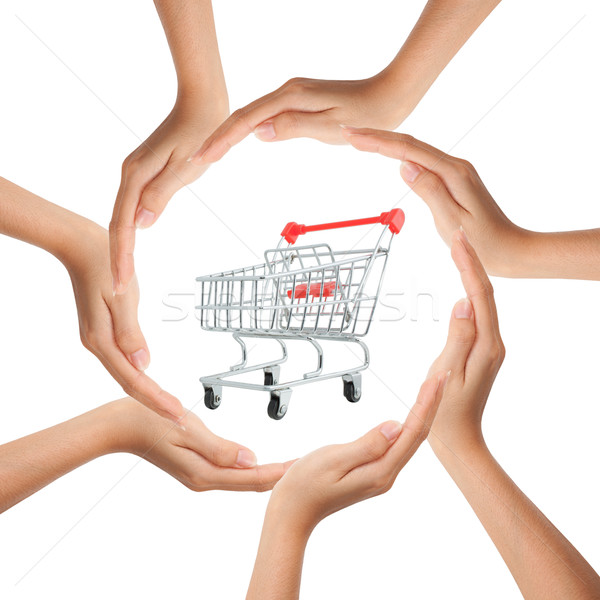 Multiracial human hands making a circle with Copy Space and shop Stock photo © Suriyaphoto