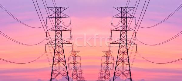 высокое напряжение пост небе технологий кадр горные Сток-фото © Suriyaphoto