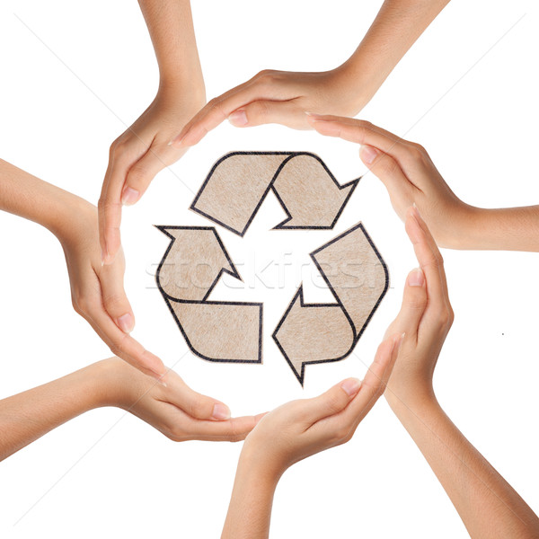 Multiracial human hands making a circle with recycle sign Stock photo © Suriyaphoto