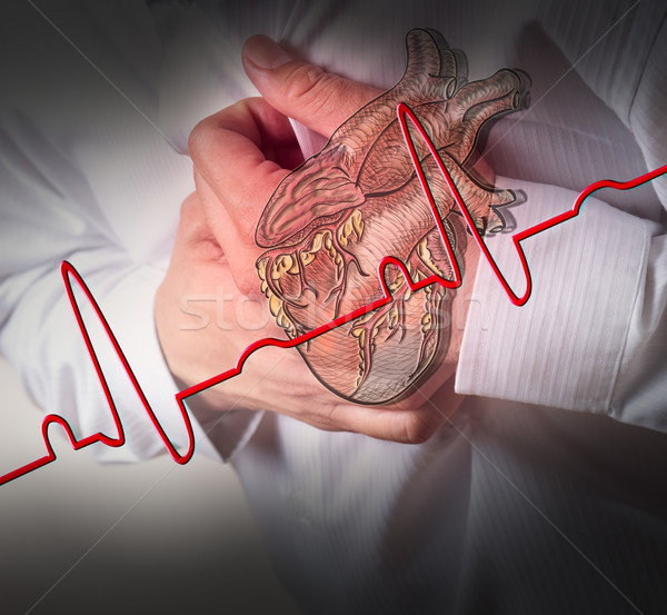 Heart Attack and heart beats cardiogram background Stock photo © Suriyaphoto
