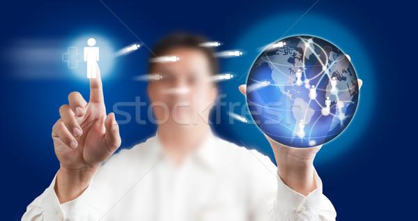 Férfi kisajtolás modern érintőképernyő kék technológia Stock fotó © Suriyaphoto