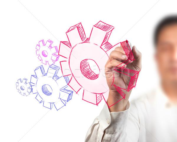 ビジネスマン 図面 ギア 成功 ビジネス ペン ストックフォト © Suriyaphoto