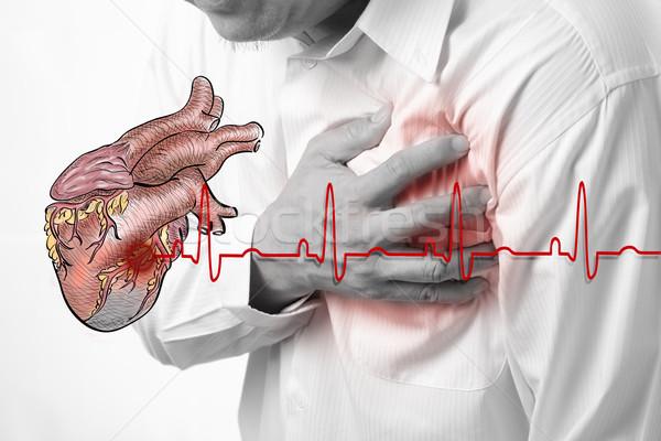 Hartaanval hart kardiogram gezondheid zakenman mannen Stockfoto © Suriyaphoto