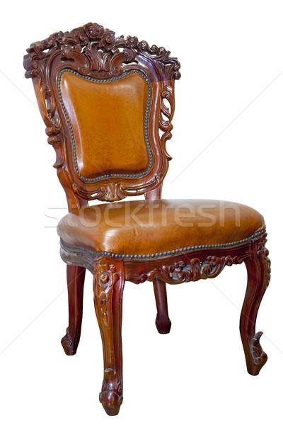 Yalıtılmış lüks deri koltuk beyaz moda Stok fotoğraf © Suriyaphoto