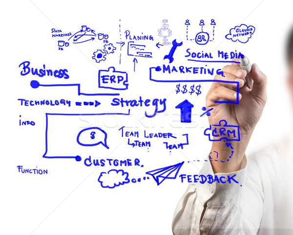 Stock photo: man drawing idea board of business process