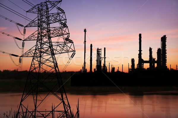 High voltage pose with petrochemical oil refinery plant  Stock photo © Suriyaphoto