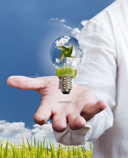 Stock photo: paddle , windmill and blue sky in light bulb on hand