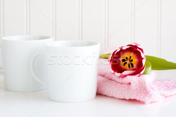 Coffee cup with flower Stock photo © susabell