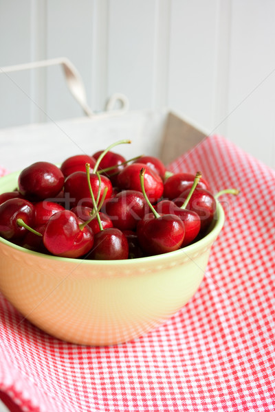 Cherries in bowl Stock photo © susabell