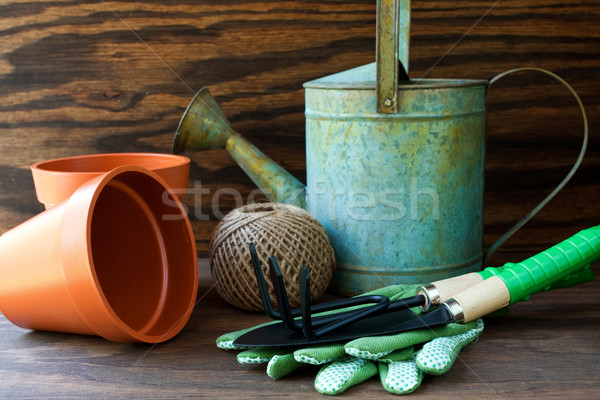 Arrosoir jardin outils corde agriculture pot Photo stock © susabell