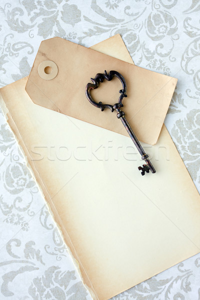 Old key and blank paper  Stock photo © susabell