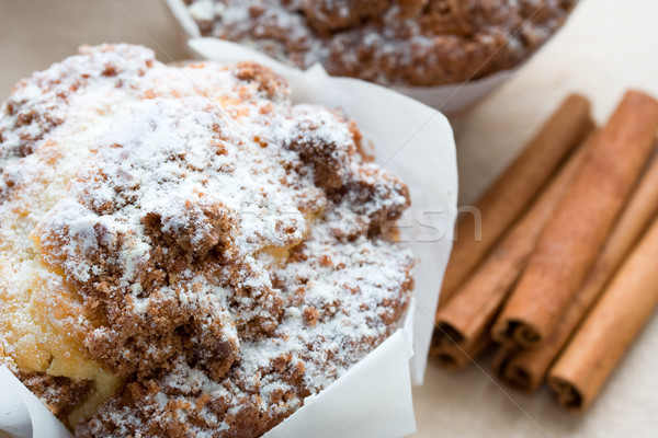 Kaneel muffins cake ontbijt dessert vers Stockfoto © susabell