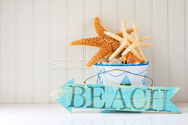 Wooden beach sign Stock photo © susabell