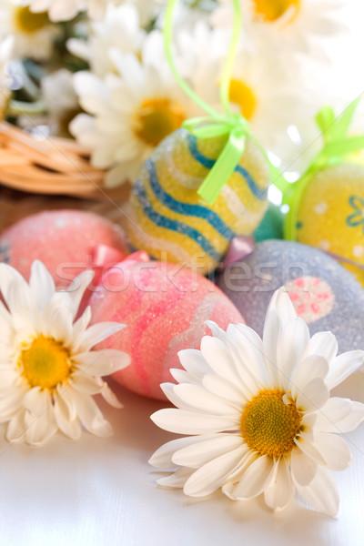 Százszorszép virág húsvéti tojások tavasz tojás minta Stock fotó © susabell