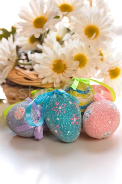 Paskalya yumurtası papatyalar çiçek bahar yumurta model Stok fotoğraf © susabell