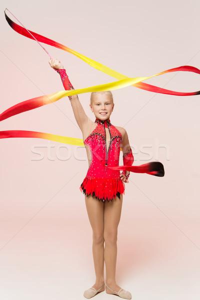 Imádnivaló kicsi tornász tánc szalag lány Stock fotó © svetography