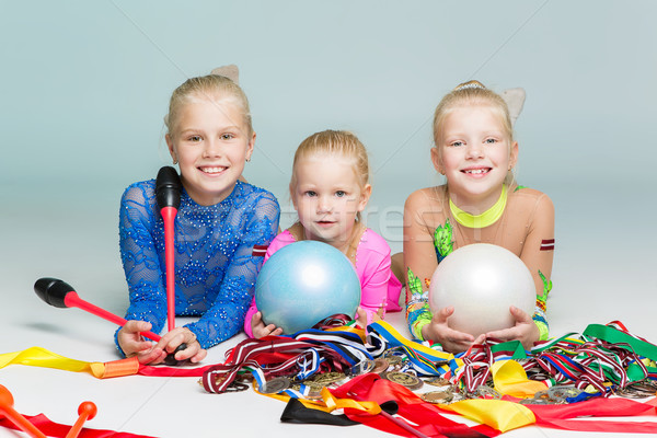 Happy children with medals Stock photo © svetography