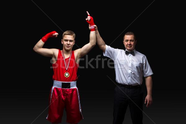 Boxe árbitro medalha jovem boxeador adolescente Foto stock © svetography