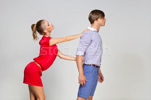 Fiúbarát barátnő fiatalember felfelé szürke lány Stock fotó © svetography