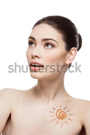 Foto stock: Menina · creme · sol · forma · desenho · peito